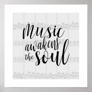 La musique réveille la couleur de coutume d'âme poster
