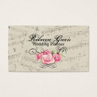 La musique romantique moderne note le mariage de cartes de visite