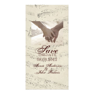 La musique romantique moderne note le mariage de photocartes personnalisées
