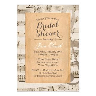 La musique vintage note la douche nuptiale carton d'invitation  12,7 cm x 17,78 cm