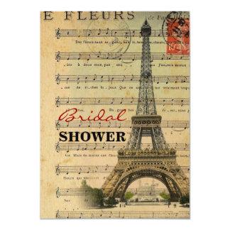 La musique vintage note Tour Eiffel de Paris Carton D'invitation 11,43 Cm X 15,87 Cm