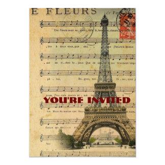 La musique vintage note Tour Eiffel de Paris Carton D'invitation 12,7 Cm X 17,78 Cm