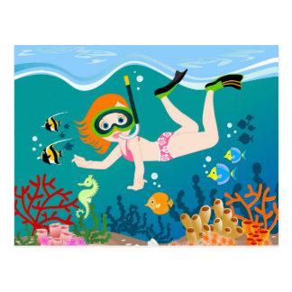 La nageuse de fille a une fête d'anniversaire cartes postales