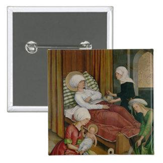 La naissance de la Vierge, c.1500 Badge Carré 5 Cm