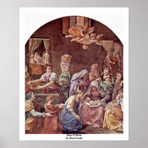La naissance de Mary par Reni Guido Posters