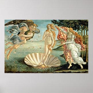 La naissance de Vénus, c.1485 (tempera sur la Poster