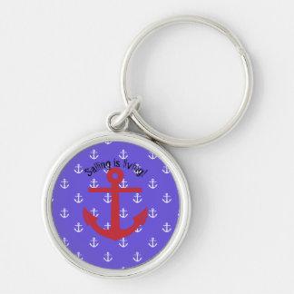 La navigation vit ! porte-clé rond argenté