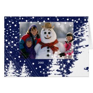 La neige a couvert le carte photo de Noël de