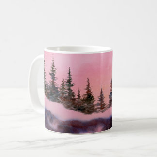 La neige d'hiver a couvert le lever de soleil rose mug