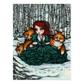 La neige d'hiver macule la carte postale d'art d'i