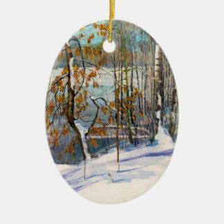 La neige est tombée ornement ovale en céramique