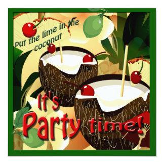 La noix de coco de Luau boit la chaux drôle en Carton D'invitation 13,33 Cm