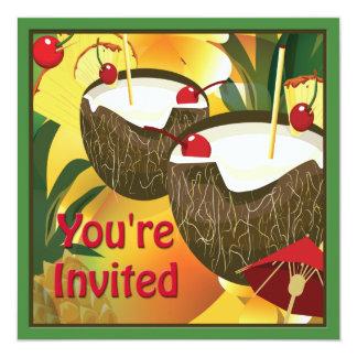 La noix de coco de Luau boit l'invitation de Carton D'invitation 13,33 Cm
