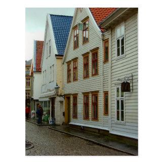 La Norvège, Bergen, les maisons en bois et les Cartes Postales
