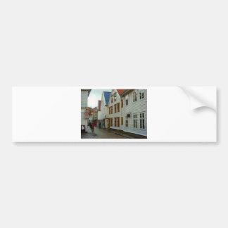 La Norvège, Bergen, les maisons en bois et les pav Autocollant De Voiture