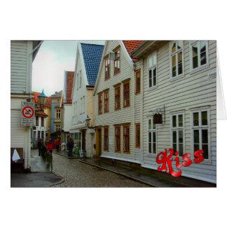 La Norvège, Bergen, les maisons en bois et les pav Carte