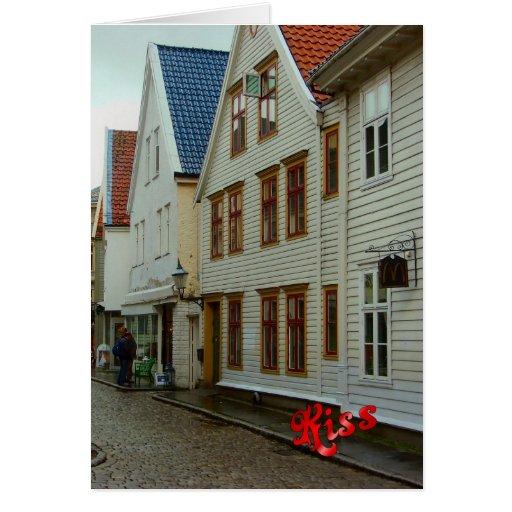 La Norvège, Bergen, les maisons en bois et les pav Cartes
