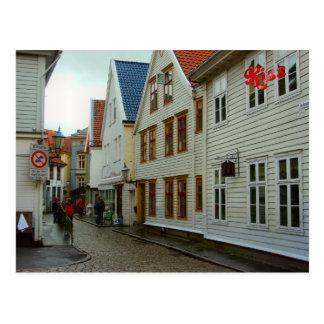 La Norvège, Bergen, les maisons en bois et les pav Carte Postale