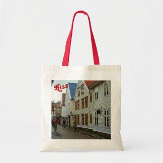 La Norvège, Bergen, les maisons en bois et les pav Sac De Toile