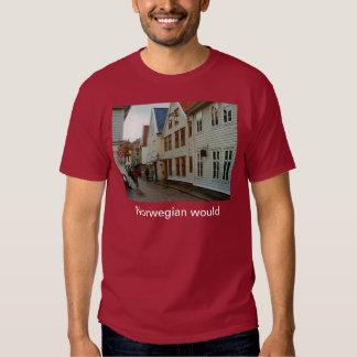 La Norvège, Bergen, les maisons en bois et les T-shirts
