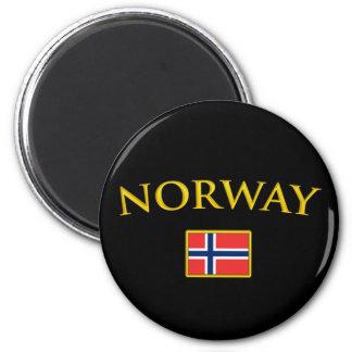 La Norvège d'or Magnet Rond 8 Cm