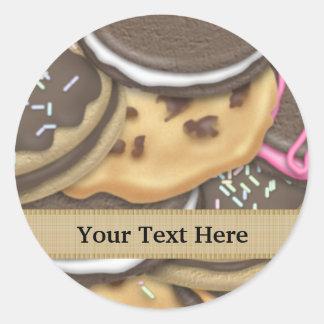 La nourriture mélangée de biscuit ajoutent sticker rond