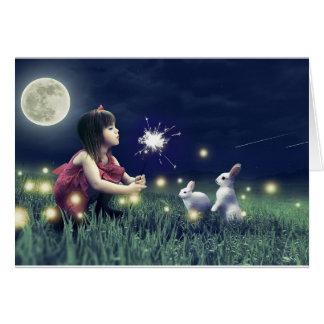 La nuit d'été souhaite la carte de voeux vierge
