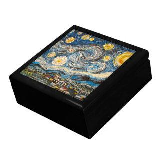 La nuit étoilée peignent après boîte en bois de Va Grande Boîte À Bijoux Carrée
