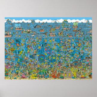 Là où est les plongeurs de mer profonde de Waldo Affiche
