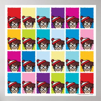 Là où est Waldo coloré modelez Posters