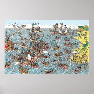 Là où est Waldo | étant un pirate Poster