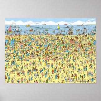 Là où est Waldo sur la plage Poster