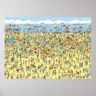 Là où est Waldo sur la plage Posters
