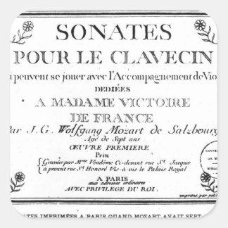 La page titre pour 'Sonates versent le clavecin' Autocollant Carré