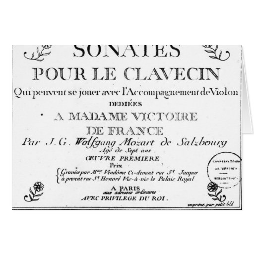 La page titre pour 'Sonates versent le clavecin' Cartes