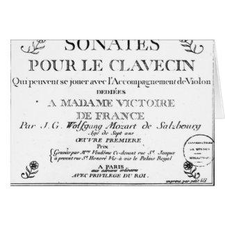 La page titre pour 'Sonates versent le clavecin' Carte De Vœux