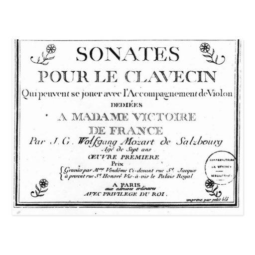La page titre pour 'Sonates versent le clavecin' Cartes Postales