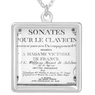 La page titre pour 'Sonates versent le clavecin' Pendentif Carré