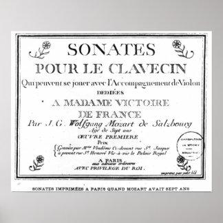 La page titre pour 'Sonates versent le clavecin' Posters