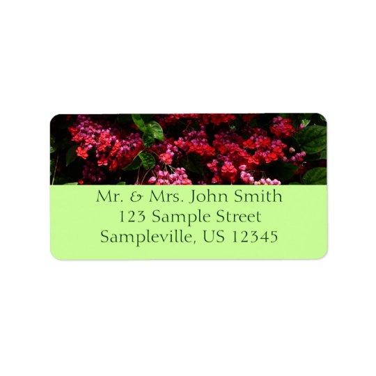La pagoda fleurit floral rouge et rose coloré étiquettes d'adresse