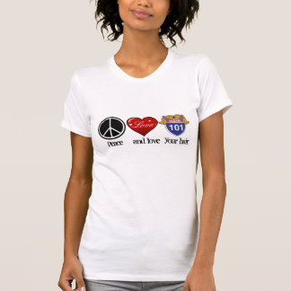 la paix et aiment votre T-shirt de cheveux