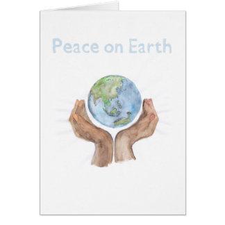 La paix sur terre, alimentent le monde carte de vœux