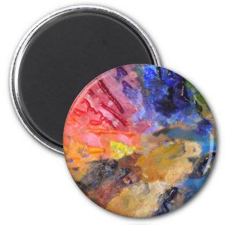 La palette du peintre des peintures colorées magnet rond 8 cm