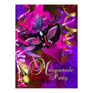 La partie de mascarade masque Champagne métallique Carton D'invitation 16,51 Cm X 22,22 Cm