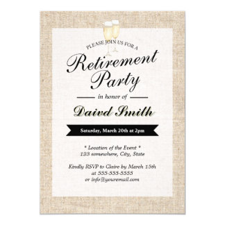 La partie de retraite encourage la toile de jute carton d'invitation  12,7 cm x 17,78 cm