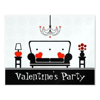 La partie de Valentine - salon blanc et rouge noir Carton D'invitation 10,79 Cm X 13,97 Cm