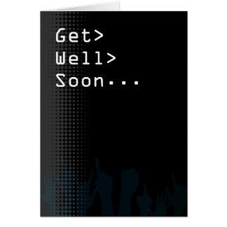 La partie d'écran d'ordinateur orientée obtiennent carte de vœux