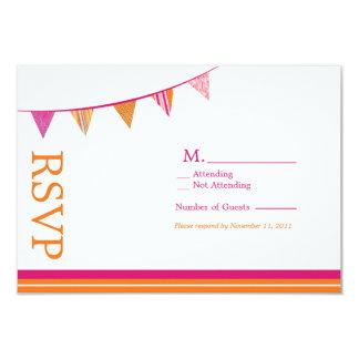 La partie marque la carte de RSVP - rose et orange Carton D'invitation 8,89 Cm X 12,70 Cm