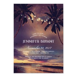 La paume vintage de coucher du soleil de plage carton d'invitation  12,7 cm x 17,78 cm