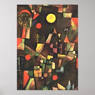 La peinture célèbre de Klee, pleine lune Poster